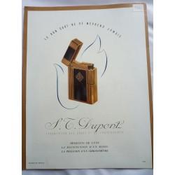 Ancienne publicité originale couleur pour les briquets S.T. Dupont 1950