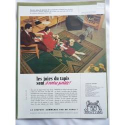Ancienne publicité originale couleur France Tapis 1953