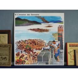 Ancienne affiche scolaire L'invasion des Germains / Ste Geneviève - Le vase de Soissons