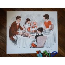 Ancienne affiche scolaire : Repas en famille - Soirée devant la télé