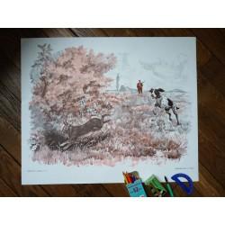 Ancienne affiche scolaire : La chasse au lièvre - Sous la pluie
