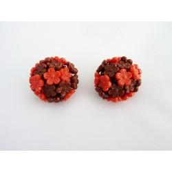 Boucles d'oreilles clips à fleurettes rouges et marrons