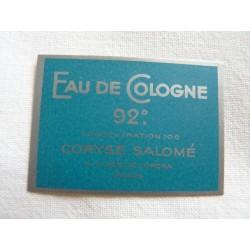 Etiquette Eau de Cologne 92° de Coryse Salomé