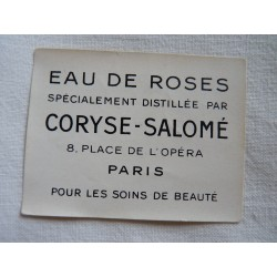 Etiquette Eau de Cologne Eau de roses de Coryse Salomé
