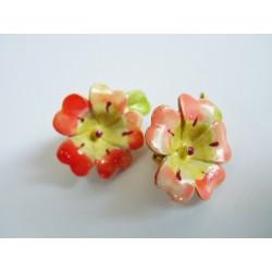 Boucles d'oreilles clips fleurs en métal