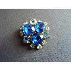 Broche vintage à strass bleus