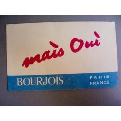 Ancienne carte parfumée Mais oui de Bourjois