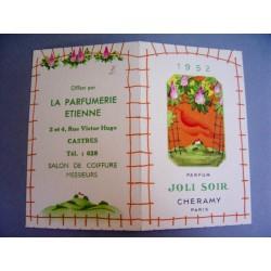 Ancien calendrier parfumé 1952 Joli Soir de Cheramy