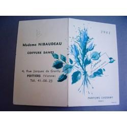 Ancien calendrier parfumé 1961 Espace de Cheramy