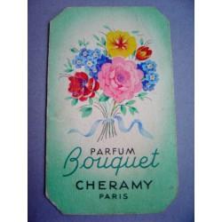 Ancienne carte parfumée Bouquet de Cheramy