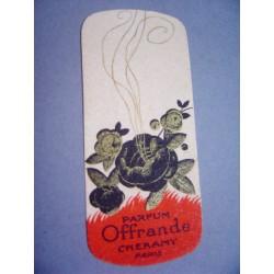 Ancienne carte parfumée Offrande de Cheramy