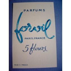 Ancienne carte parfumée 5 Fleurs de Forvil