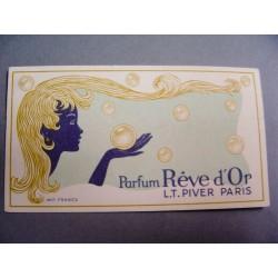 Ancienne carte parfumée Rêve d'Or de L.T. Piver