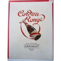Ancienne publicité originale couleur Champagne Cordon Rouge de Virtel 1949