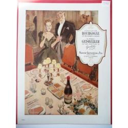 Ancienne publicité originale couleur pour le Bourgogne Geisweiler de Paulin 1948