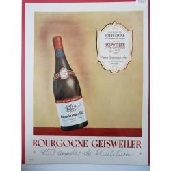 Ancienne publicité originale couleur pour le Bourgogne Geisweiler 1949