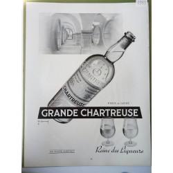 Ancienne publicité originale noir & blanc La Grande Chartreuse de Lemmel 1953