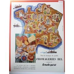 Ancienne publicité originale couleur La Vache qui Rit 1954
