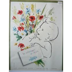 Ancienne publicité originale couleur Nestlé 1954