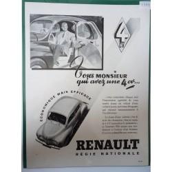 Ancienne publicité originale noir & blanc pour la 4CV de Renault 1948
