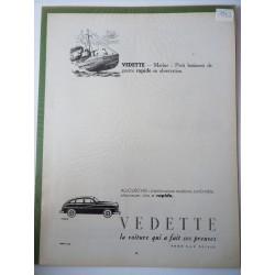 Ancienne publicité originale noir & blanc pour les automobiles Vedette 1952