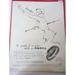 Ancienne publicité originale noir & blanc Omega de Pierre Simon 1950