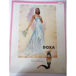 Ancienne publicité originale couleur Doxa de Charles Lemmel 1947