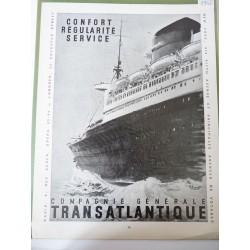 Ancienne publicité originale noir & blanc Compagnie Générale Transatlantique 1952