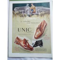 Ancienne publicité originale couleur pour les chaussures Unic de Jean Mercey 1949