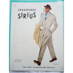 Ancienne publicité originale couleur pour les chaussures Sirius de Brenot 1948