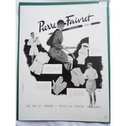 Ancienne publicité originale noir & blanc pour les vêtements Pierre Faivret 1949