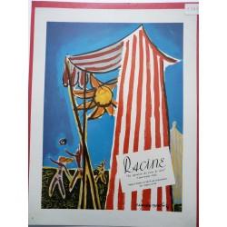 Ancienne publicité originale couleur pour les tissus Racine de Claude Bonin 1949