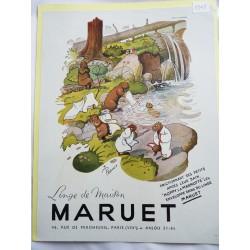 Ancienne publicité originale couleur pour le linge de maison Maruet de Pellos 1948
