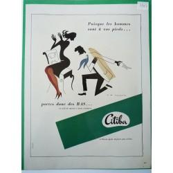 Ancienne publicité originale couleur pour les bas Citiba de R de Lavererie 1947