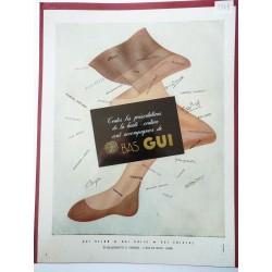 Ancienne publicité originale couleur pour Les Bas Gui 1948