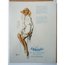 Ancienne publicité originale couleur pour Les Bas Cornuel de Brenot 1948