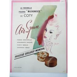 Ancienne publicité originale couleur Air Spun de Coty de Jeandot 1948