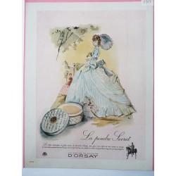 Ancienne publicité originale couleur poudre Secret d'Orsay 1947