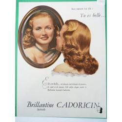 Ancienne publicité originale couleur pour la brillantine Cadoricin 1948
