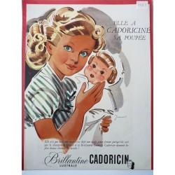Ancienne publicité originale couleur pour la brillantine Cadoricin de Jeandot 1949