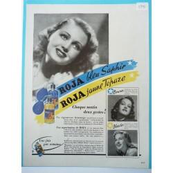 Ancienne publicité originale couleur pour la brillantine Roja 1948