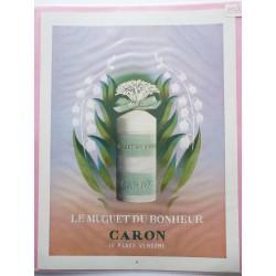 Ancienne publicité originale couleur Le Muguet du Bonheur de Caron 1953