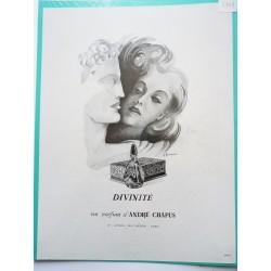 Ancienne publicité originale noir & blanc Divinité de André Chapus de P. Fournier 1949
