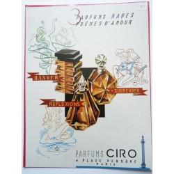 Ancienne publicité originale couleur des parfums Ciro de Marjollin 1949