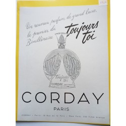 Ancienne publicité originale noir & blanc Toujours toi de Corday 1951