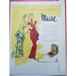 Ancienne publicité originale couleur Muse de Coty 1946