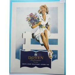 Ancienne publicité originale couleur pour les parfums Doyen  Illustration de André Jean 1949