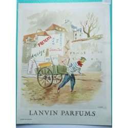 Ancienne publicité originale couleur pour les parfums Lanvin  Illustration de Guillaume Gillet 1950