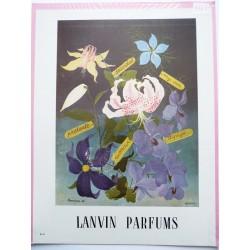 Ancienne publicité originale couleur pour les parfums Lanvin  Illustration de Bravura 1947