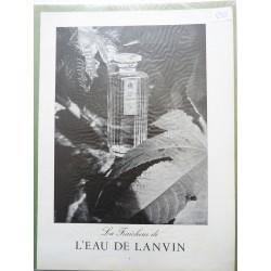 Ancienne publicité originale noir & blanc L'Eau de Lanvin 1952
